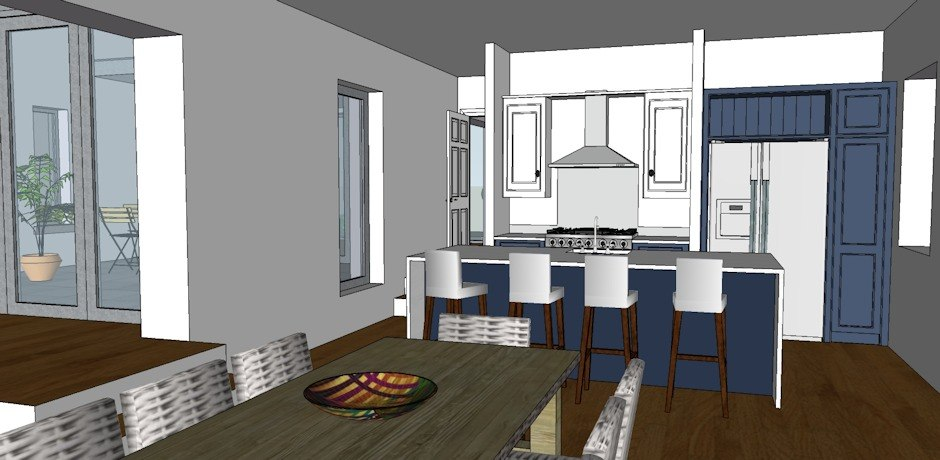 Kitchen layout in 3D format