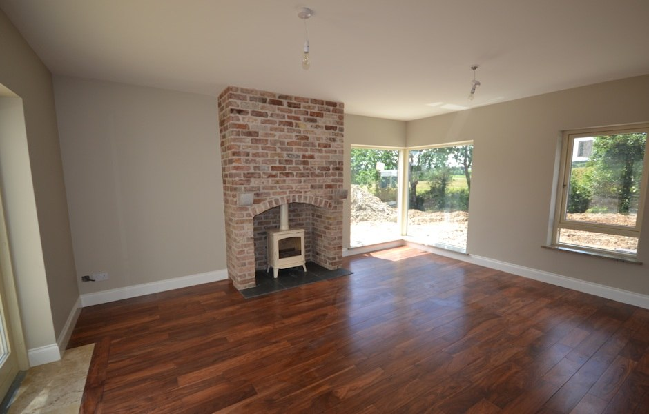 salvaged red brick fireplace